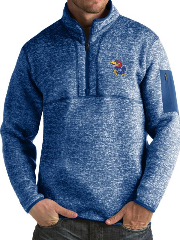 Antigua Men's Kansas Jayhawks Blue Fortune Pullover Jacket product image