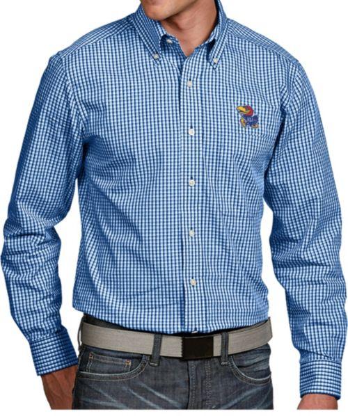 510dff5711d Antigua Men s Kansas Jayhawks Blue Associate Button Down Long Sleeve ...