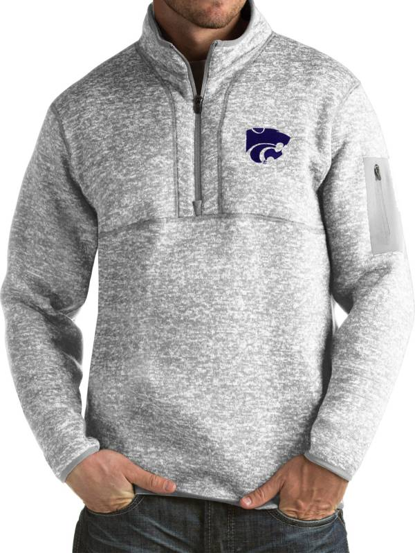 Antigua Men's Kansas State Wildcats Grey Fortune Pullover Jacket product image