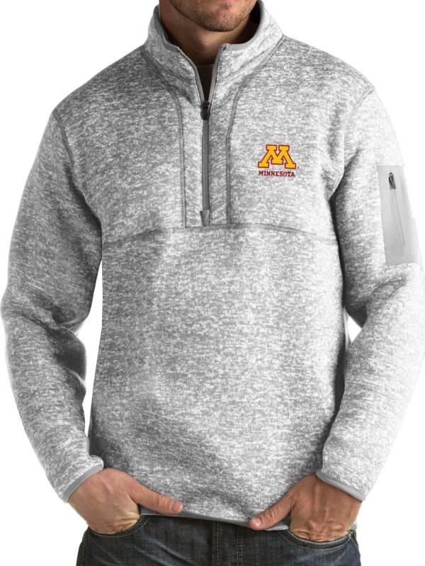Antigua Men's Minnesota Golden Gophers Grey Fortune Pullover Jacket product image