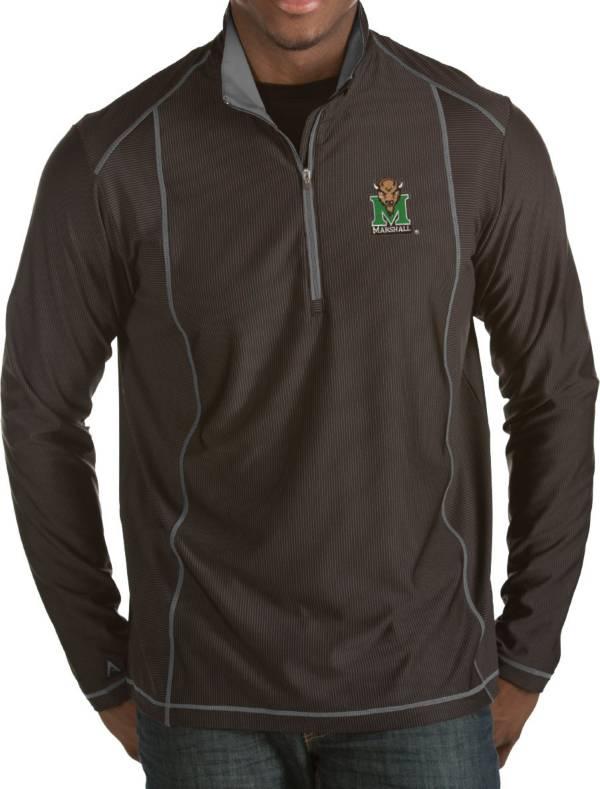 Antigua Men's Marshall Thundering Herd Black Tempo Half-Zip Pullover product image