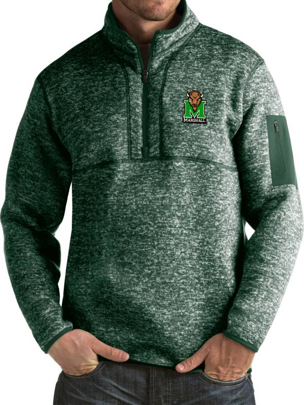 Antigua Men's Marshall Thundering Herd Green Fortune Pullover Jacket product image