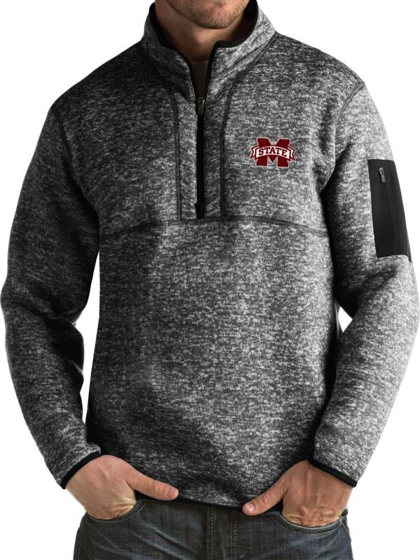 Antigua Men's Mississippi State Bulldogs Black Fortune Pullover Jacket product image