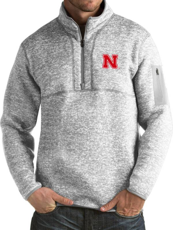 Antigua Men's Nebraska Cornhuskers Grey Fortune Pullover Jacket product image