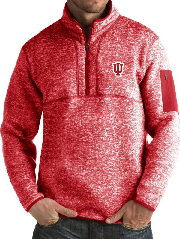 Antigua Men's Indiana Hoosiers Crimson Fortune Pullover Jacket product image