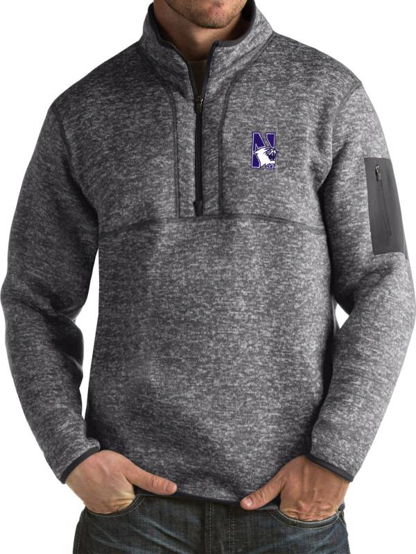 Antigua Men's Northwestern Wildcats Grey Fortune Pullover Jacket product image