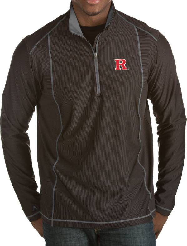Antigua Men's Rutgers Scarlet Knights Black Tempo Half-Zip Pullover product image