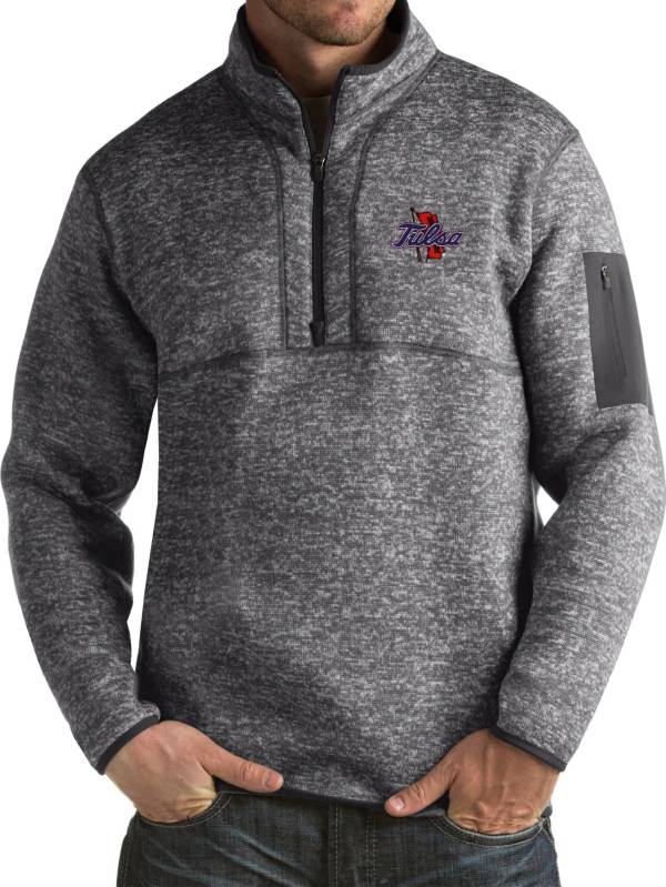Antigua Men's Tulsa Golden Hurricane Grey Fortune Pullover Jacket product image