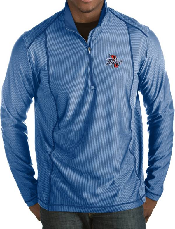 Antigua Men's Tulsa Golden Hurricane Blue Tempo Half-Zip Pullover product image