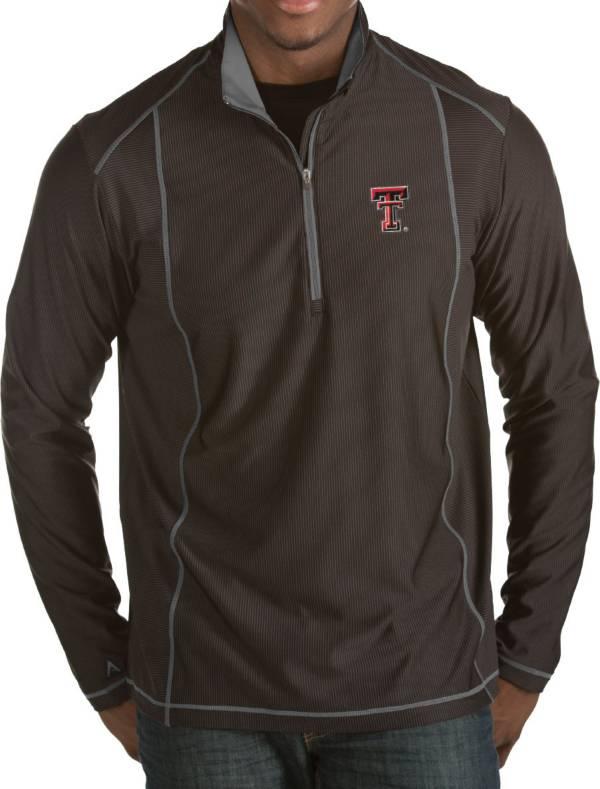 Antigua Men's Texas Tech Red Raiders Black Tempo Half-Zip Pullover product image