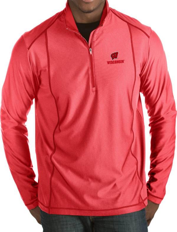 Antigua Men's Wisconsin Badgers Red Tempo Half-Zip Pullover product image