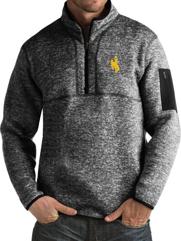 Antigua Men's Wyoming Cowboys Black Fortune Pullover Jacket product image