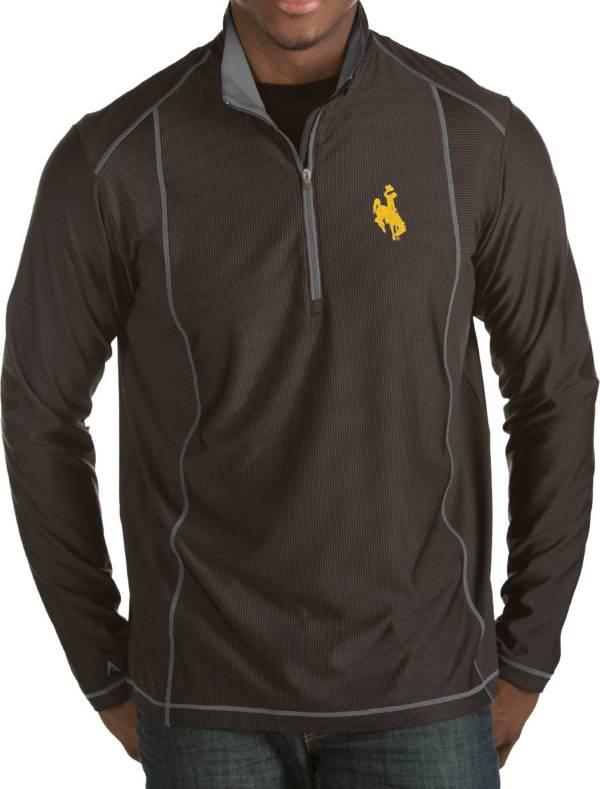 Antigua Men's Wyoming Cowboys Black Tempo Half-Zip Pullover product image