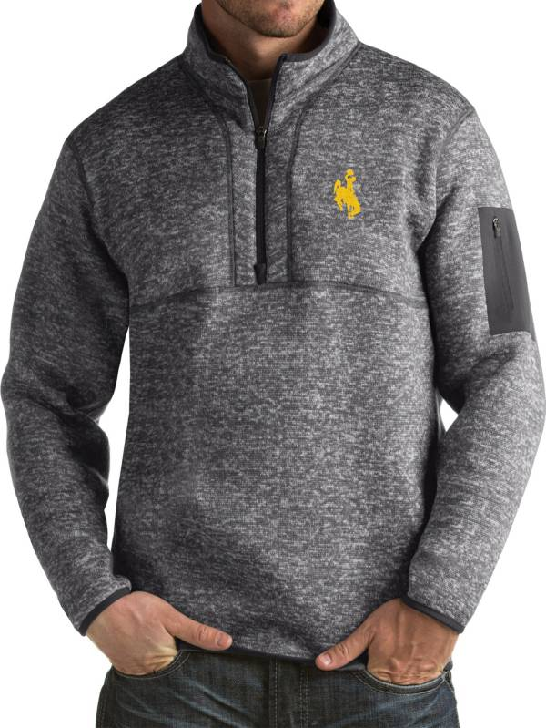 Antigua Men's Wyoming Cowboys Grey Fortune Pullover Jacket product image