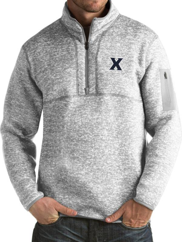 Antigua Men's Xavier Musketeers Grey Fortune Pullover Jacket product image