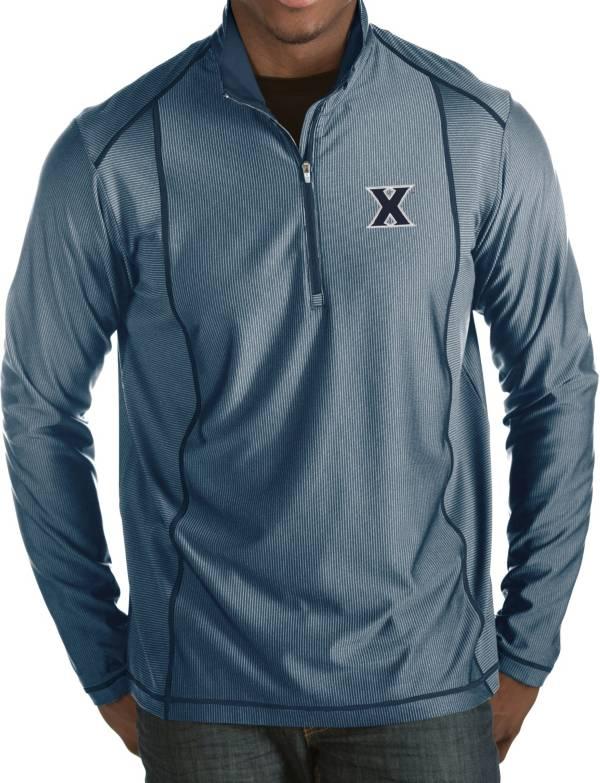 Antigua Men's Xavier Musketeers Blue Tempo Half-Zip Pullover product image