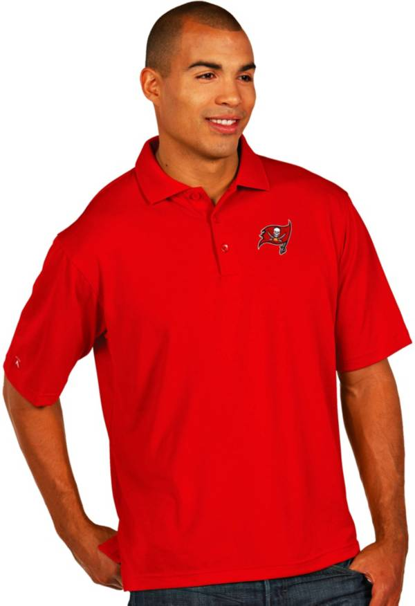 Antigua Men's Tampa Bay Buccaneers Pique Xtra-Lite Red Polo product image