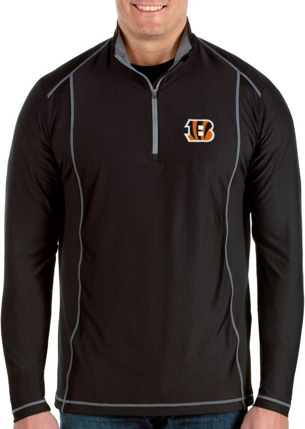 Antigua Men's Cincinnati Bengals Tempo Black Quarter-Zip Pullover product image