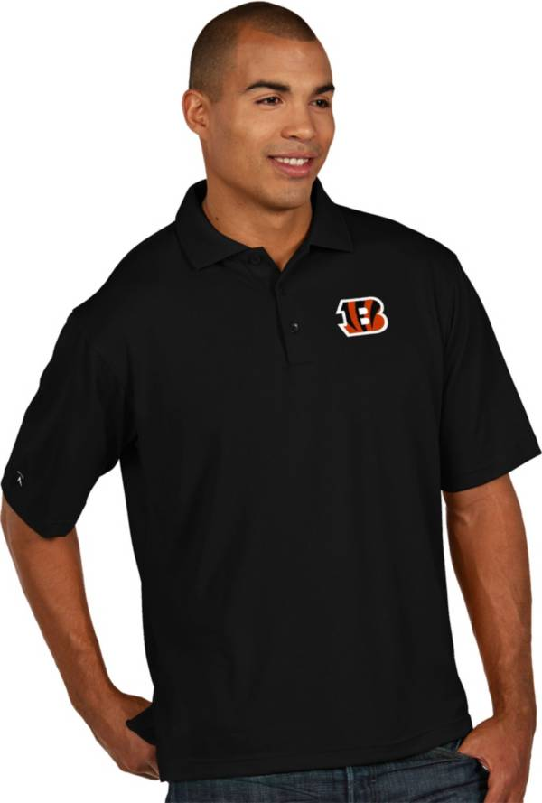 Antigua Men's Cincinnati Bengals Pique Xtra-Lite Black Polo product image