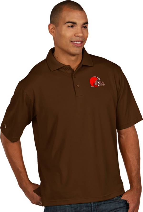 Antigua Men's Cleveland Browns Pique Xtra-Lite Brown Polo product image