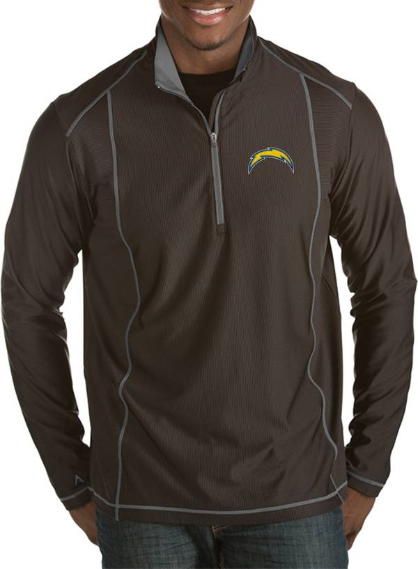 Antigua Men's Los Angeles Chargers Tempo Black Quarter-Zip Pullover product image