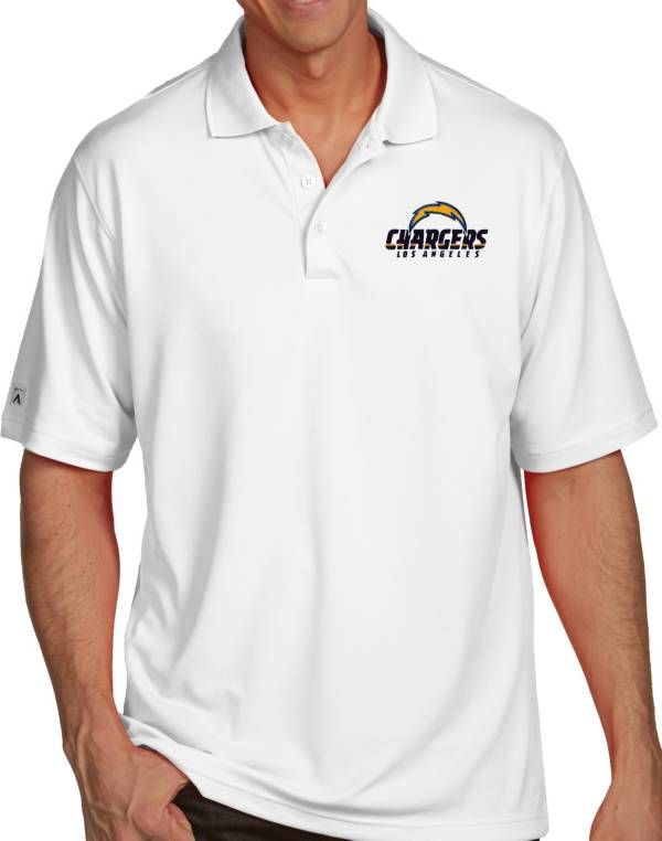 Antigua Men's Los Angeles Chargers Pique Xtra-Lite White Polo product image