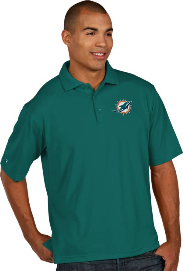 Antigua Men's Miami Dolphins Pique Xtra-Lite Aqua Polo product image