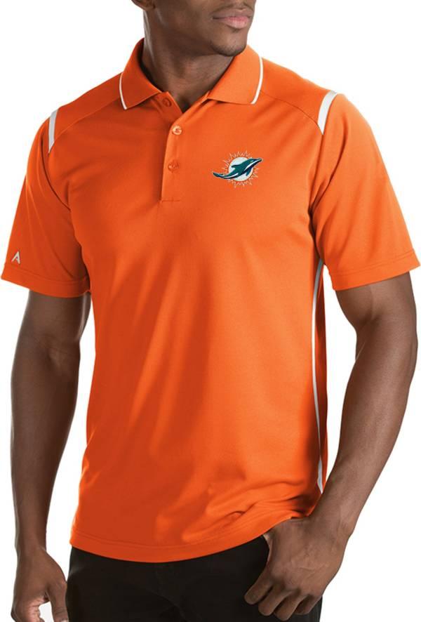 Antigua Men's Miami Dolphins Merit Orange Xtra-Lite Polo product image