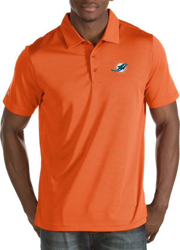 Antigua Men's Miami Dolphins Quest Orange Polo product image