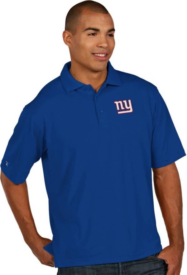 Antigua Men's New York Giants Pique Xtra-Lite Royal Polo product image