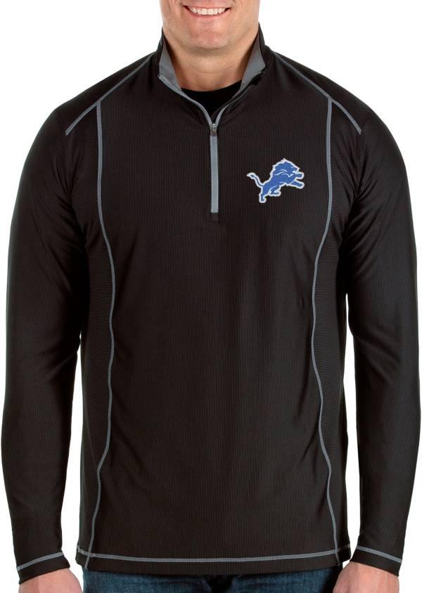 Antigua Men's Detroit Lions Tempo Black Quarter-Zip Pullover product image