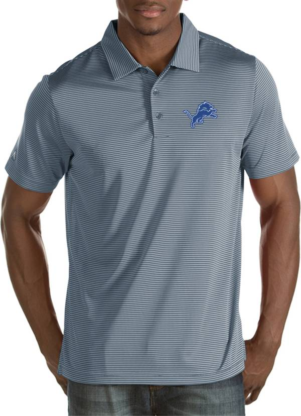 Antigua Men's Detroit Lions Quest Grey Polo product image