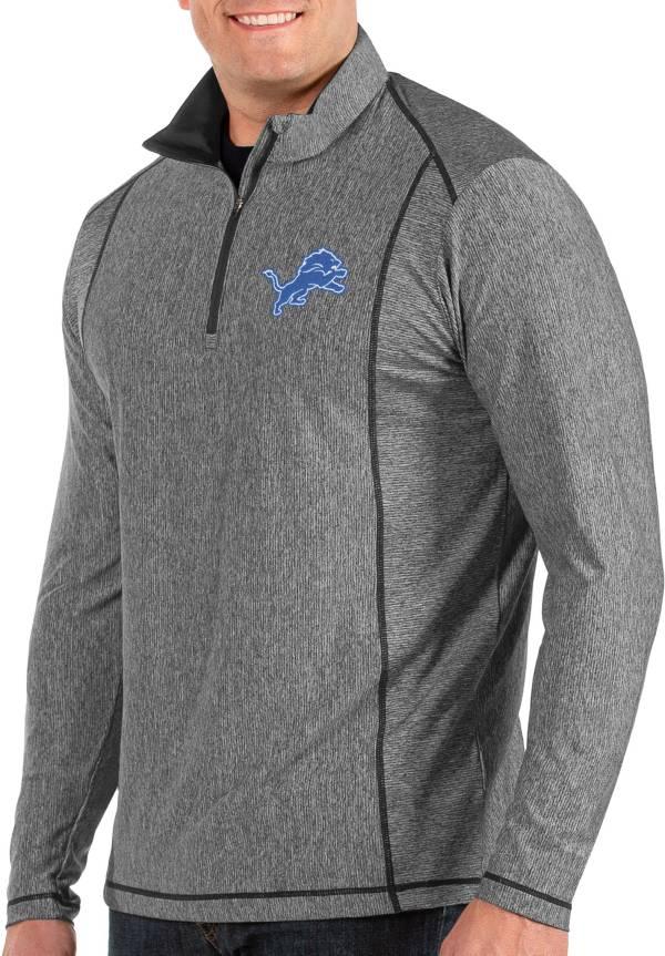 Antigua Men's Detroit Lions Tempo Grey Quarter-Zip Pullover product image