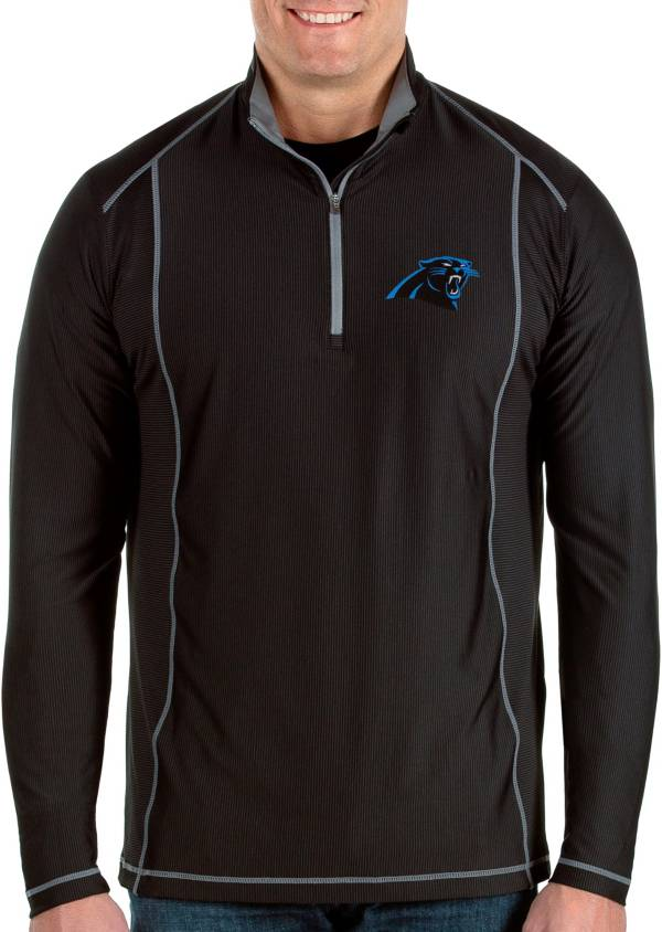Antigua Men's Carolina Panthers Tempo Black Quarter-Zip Pullover product image