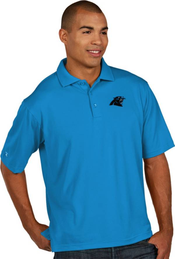 Antigua Men's Carolina Panthers Pique Xtra-Lite Blue Polo product image