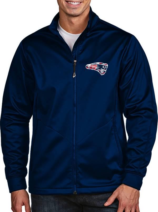 Antigua Men's New England Patriots Quick Snap Logo Navy Golf Jacket product image