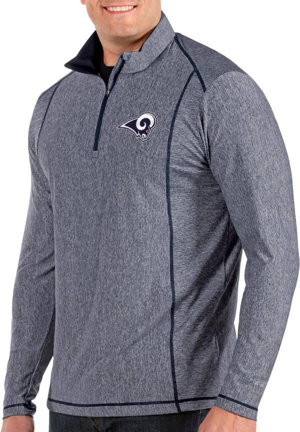 Antigua Men's Los Angeles Rams Tempo Navy Quarter-Zip Pullover product image