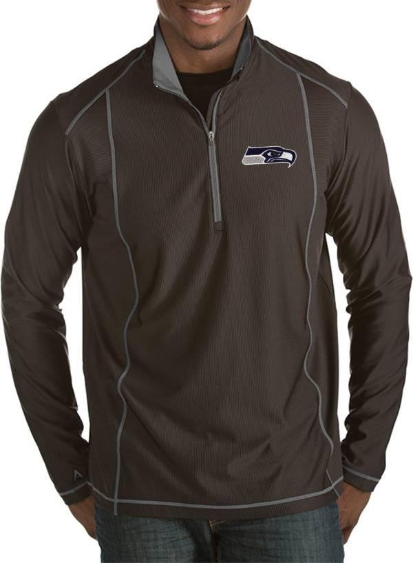 Antigua Men's Seattle Seahawks Tempo Black Quarter-Zip Pullover product image