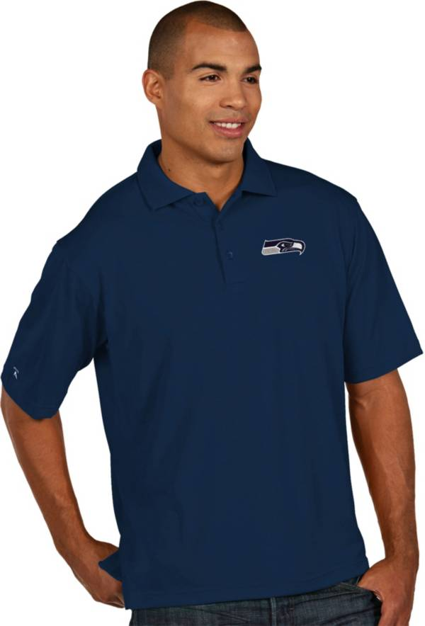 Antigua Men's Seattle Seahawks Pique Xtra-Lite Navy Polo product image