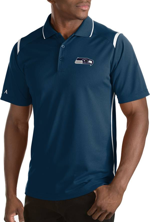 Antigua Men's Seattle Seahawks Merit Navy Xtra-Lite Polo product image