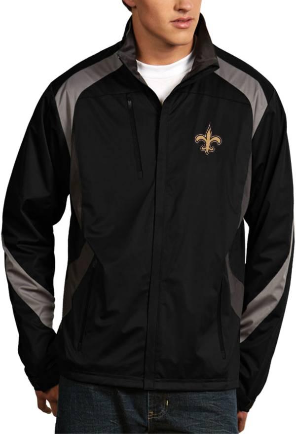 Antigua Men's New Orleans Saints Tempest Black Full-Zip Jacket product image