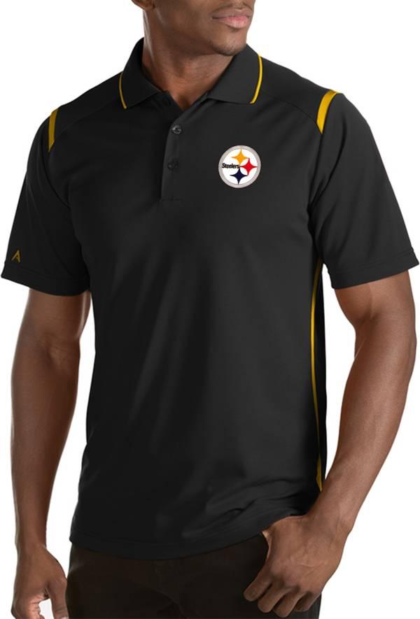 Antigua Men's Pittsburgh Steelers Merit Black Xtra-Lite Polo product image