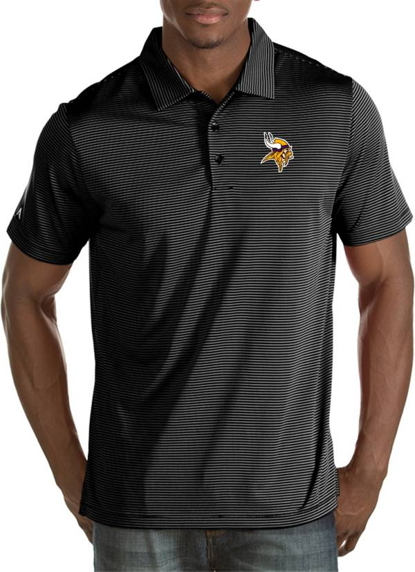 Antigua Men's Minnesota Vikings Quest Black Polo product image