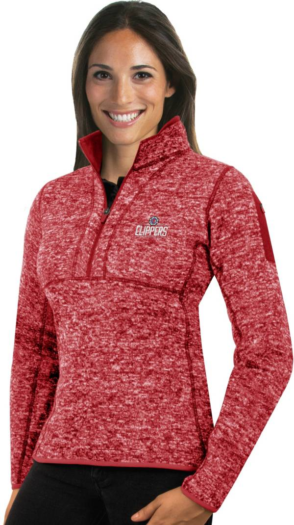 Antigua Women's Los Angeles Clippers Fortune Red Half-Zip Pullover product image