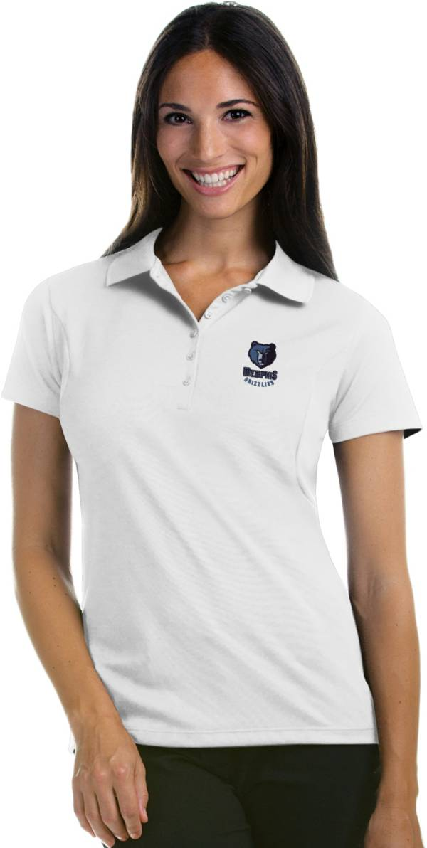 Antigua Women's Memphis Grizzlies Xtra-Lite White Pique Performance Polo product image