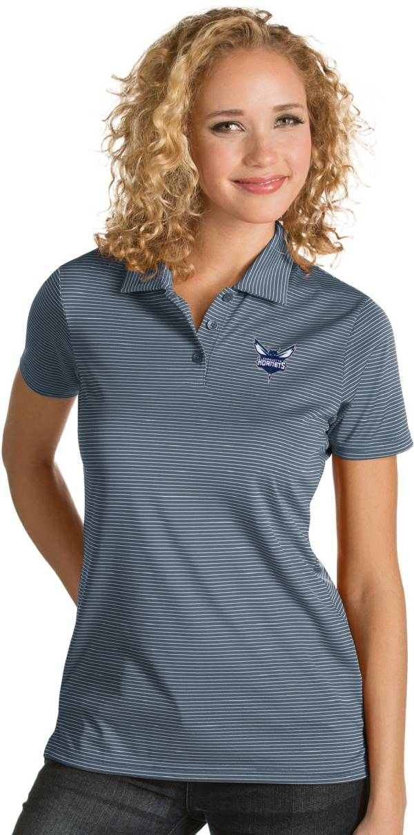 Antigua Women's Charlotte Hornets Xtra-Lite Grey Quest Performance Polo product image
