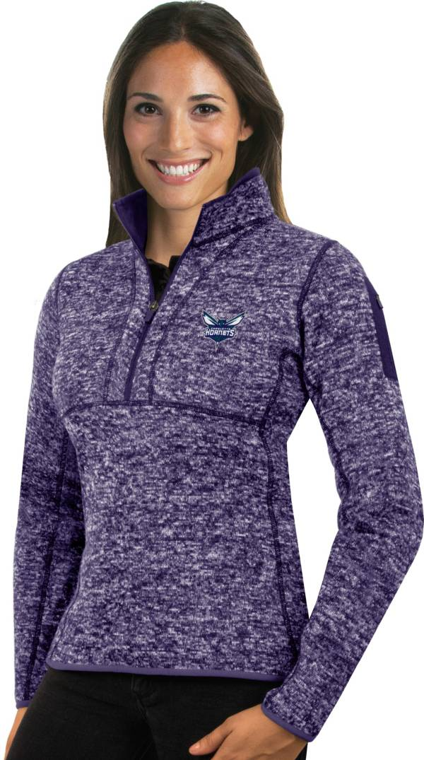 Antigua Women's Charlotte Hornets Fortune Purple Half-Zip Pullover product image