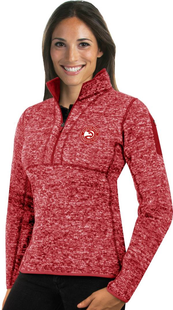 Antigua Women's Atlanta Hawks Fortune Red Half-Zip Pullover product image