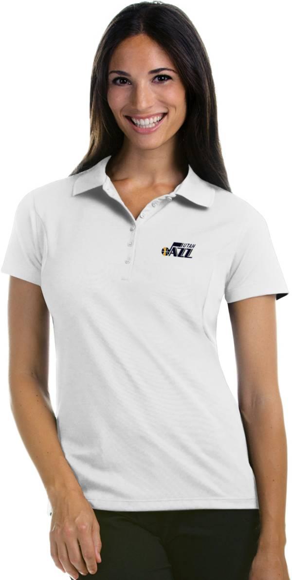 Antigua Women's Utah Jazz Xtra-Lite White Pique Performance Polo product image