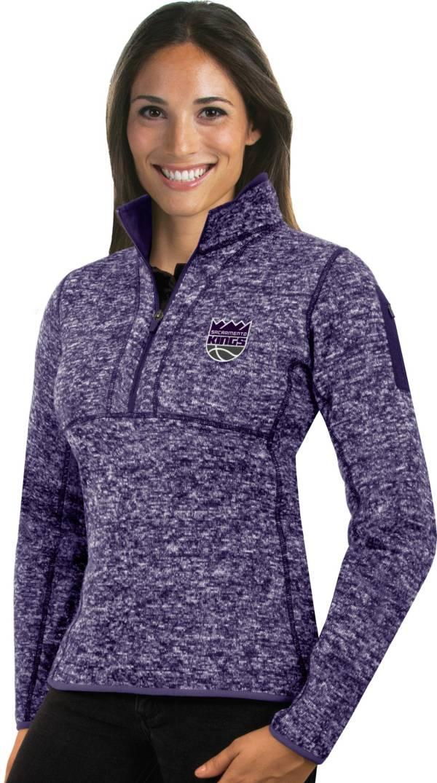 Antigua Women's Sacramento Kings Fortune Purple Half-Zip Pullover product image